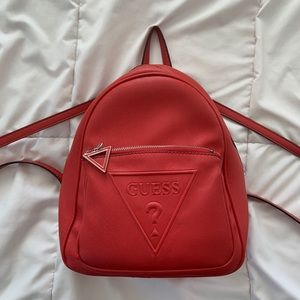 Guess Red Leather Backpack